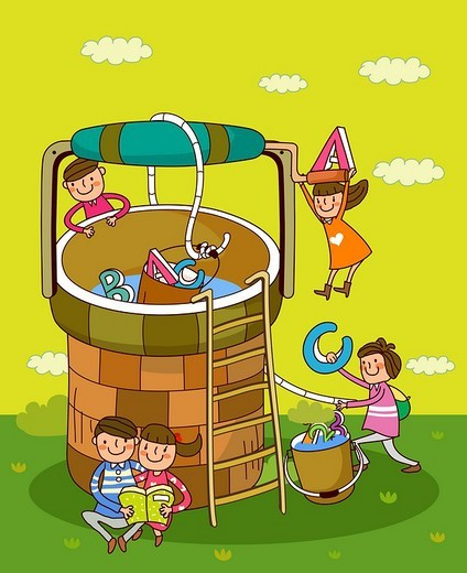 Children playing near a well : Stock Photo