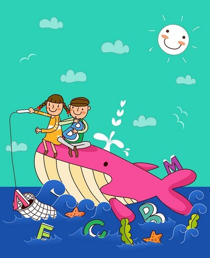 Stock Photo: 4170R-3934 Boy with a girl sitting on a whale and fishing in the sea