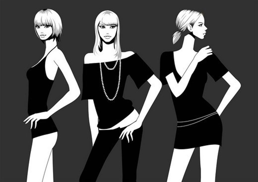 Stock Photo: 4170R-3978 Three fashion models posing