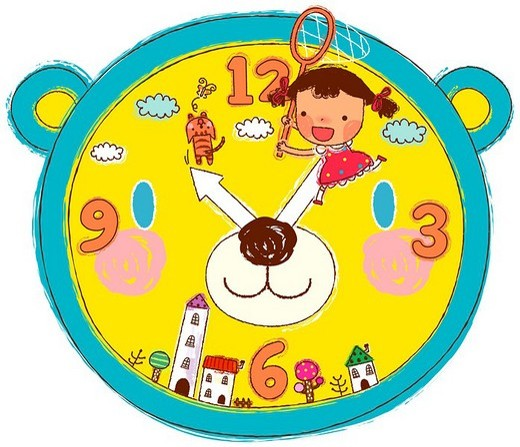 Girl with fishing net on clock dial : Stock Photo