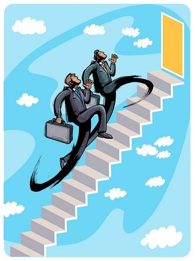 Business people climbing steps : Stock Photo