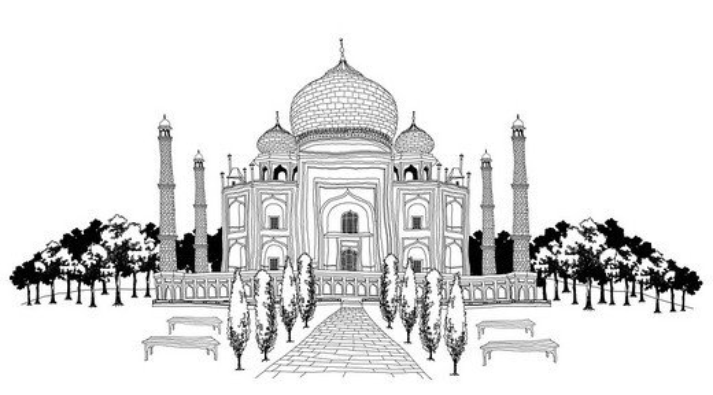 Pathway by Taj Mahal : Stock Photo