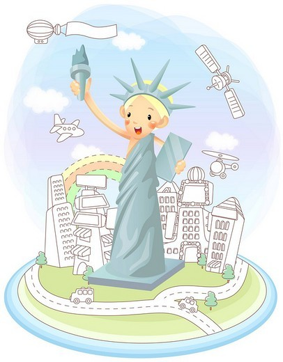 Girl representing statue of liberty : Stock Photo