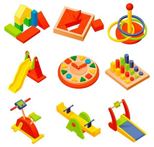 Various plastic toys displayed against white background : Stock Photo