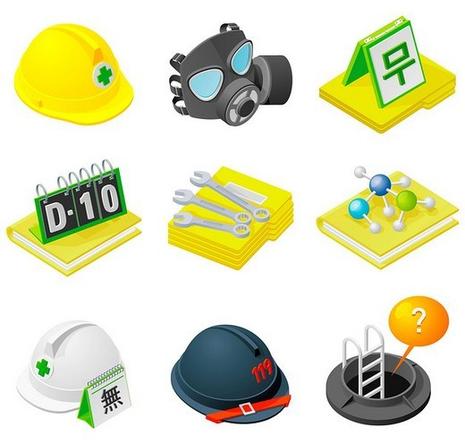 Stock Photo: 4170R-4592 Various objects displayed against white background