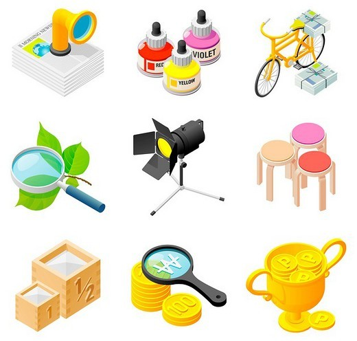 Stock Photo: 4170R-4603 Various objects displayed against white background
