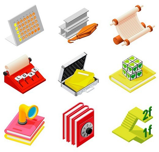 Stock Photo: 4170R-4606 Various objects displayed against white background