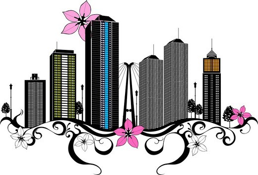 Skyscrapers by floral pattern : Stock Photo