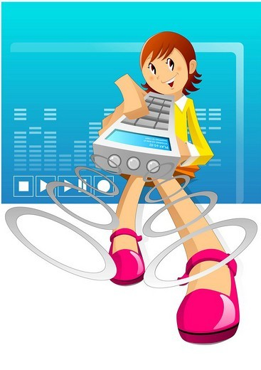 Girl playing music system by remote control : Stock Photo