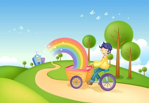Boy riding on tricycle : Stock Photo