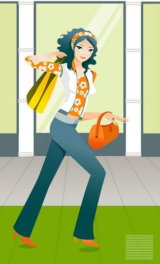 Side profile of a woman carrying a shopping bag and a purse : Stock Photo