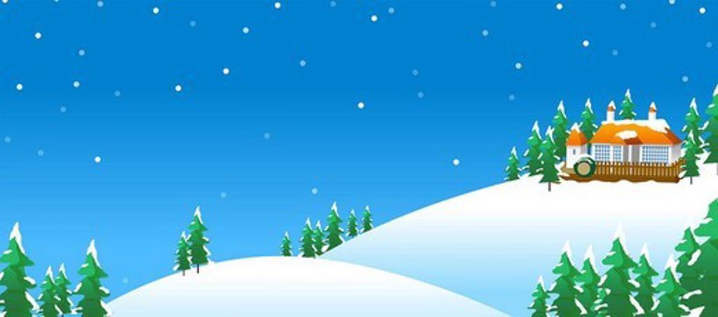 Stock Photo: 4170R-5046 House on a polar landscape