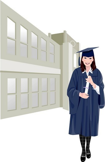 Portrait of a woman wearing graduation gown and holding her diploma : Stock Photo