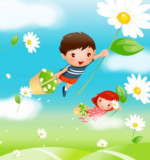 Boy and a girl carrying baskets of flowers and flying over a field : Stock Photo
