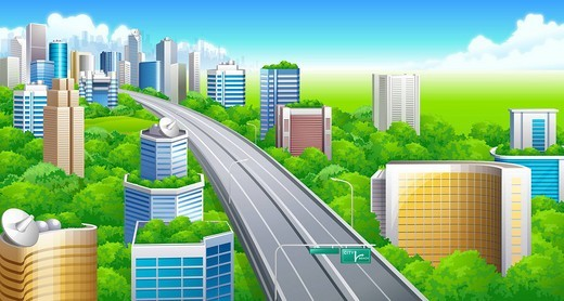 Stock Photo: 4170R-5157 High angle view of a highway passing through a city