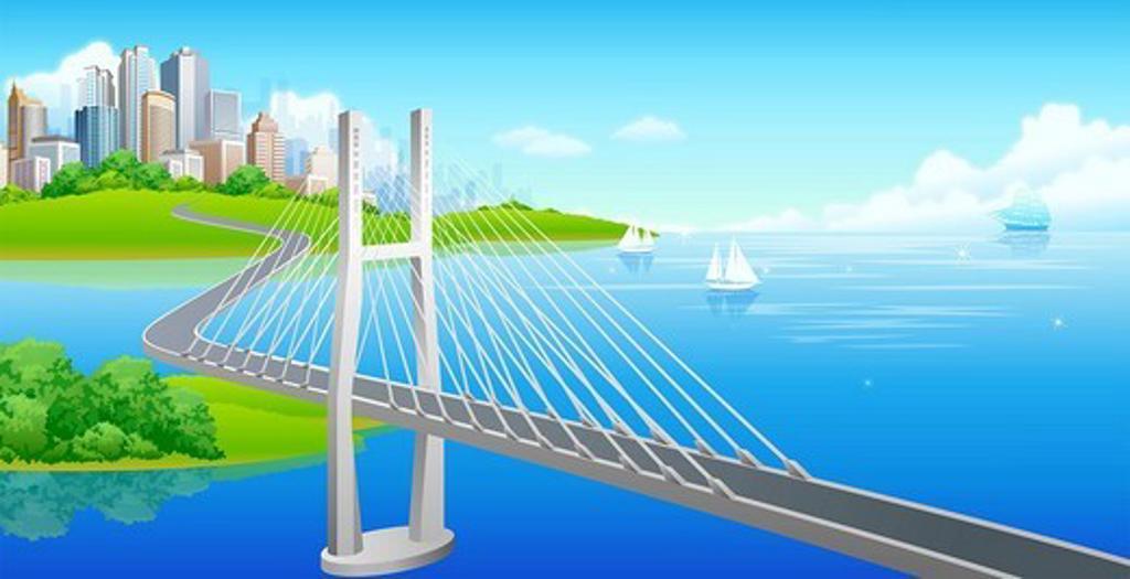 Suspension bridge over a sea : Stock Photo