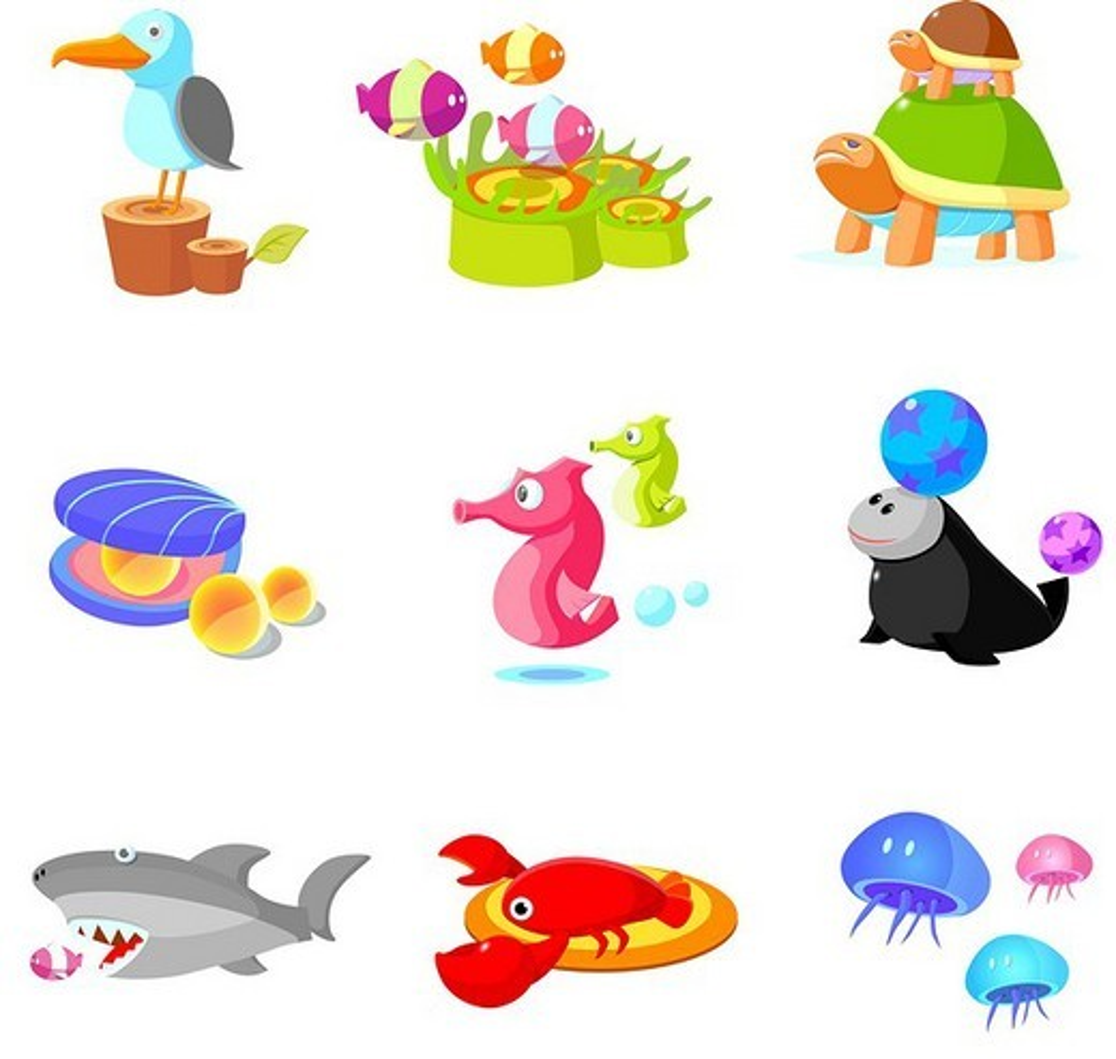 Stock Photo: 4170R-5225 Close-up of various aquatic animals