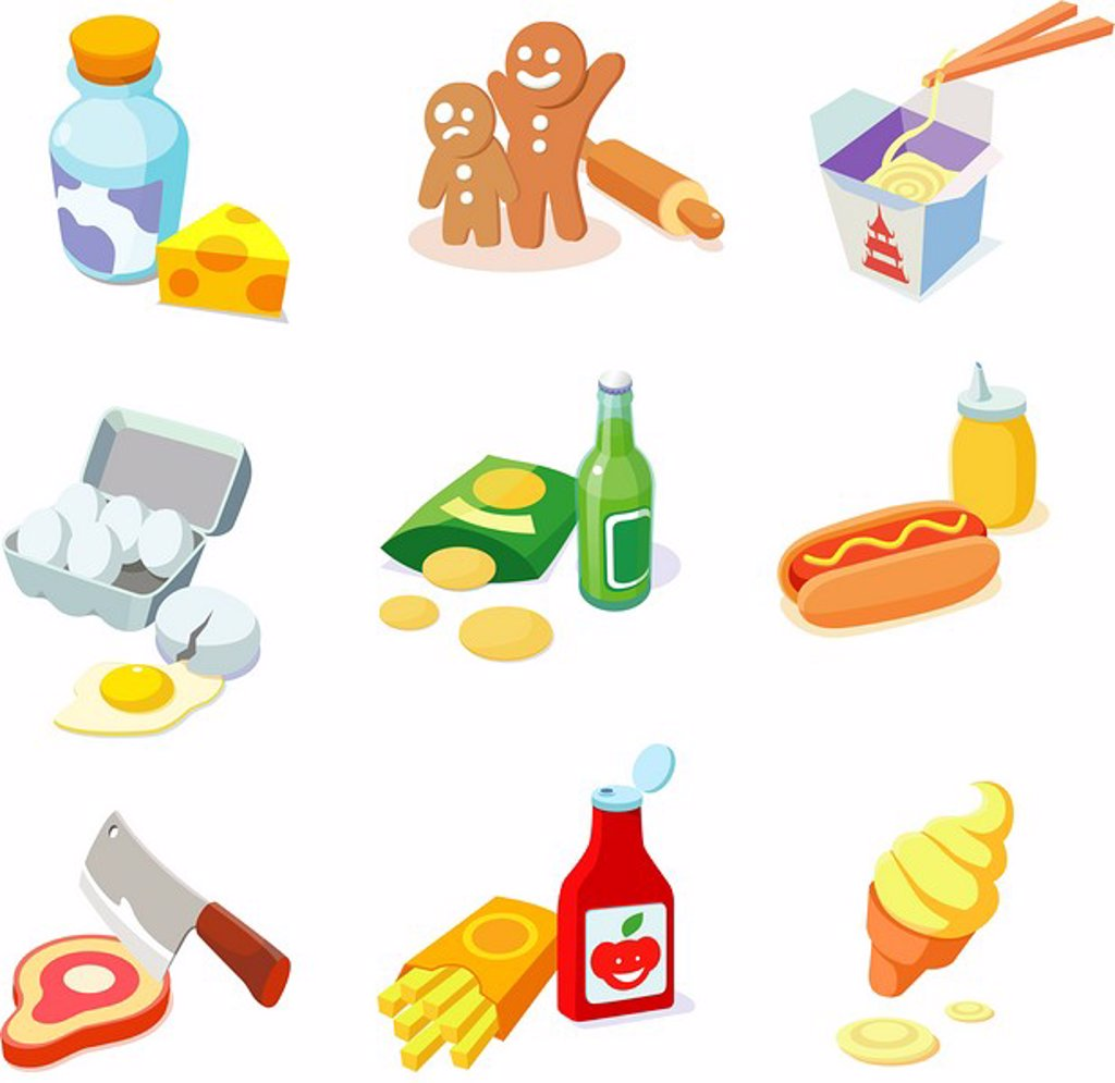 Stock Photo: 4170R-5235 Close-up of various food items