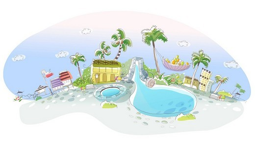 Stock Photo: 4170R-5341 High angle view of a swimming pool in a city
