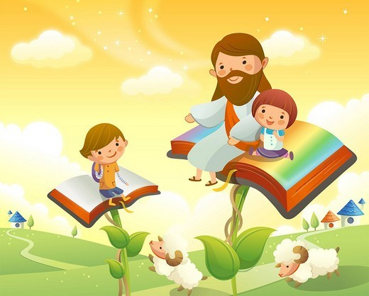 Stock Photo: 4170R-5412 Jesus Christ sitting with two children on books