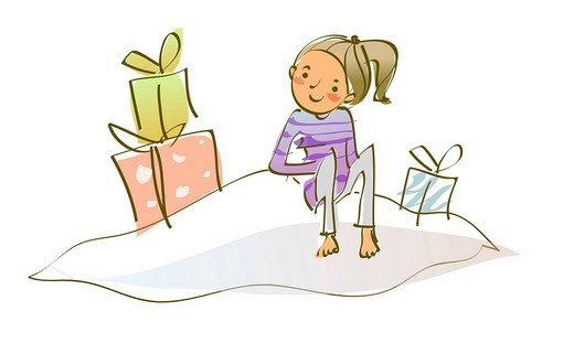 Girl sitting near gifts : Stock Photo