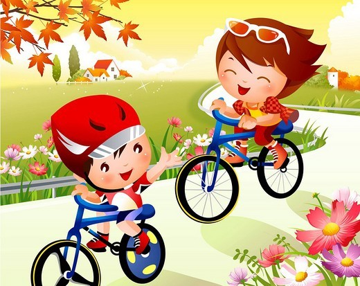 Boy and a girl riding bicycles : Stock Photo