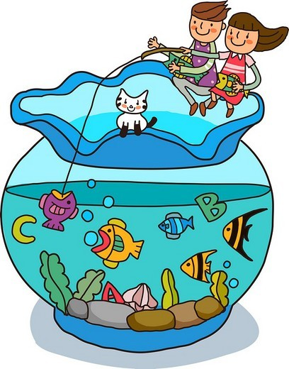 Boy and a girl fishing in a fish bowl : Stock Photo