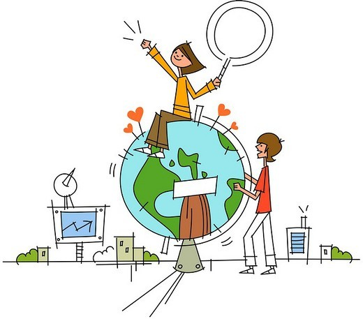 Stock Photo: 4170R-5623 Woman sitting on a globe and a man standing near it