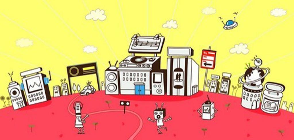 Futuristic city run by robots : Stock Photo