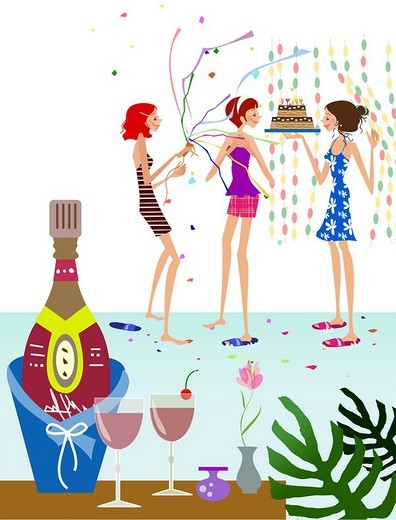 Stock Photo: 4170R-5676 Champagne bottle in an ice bucket with three women in the background