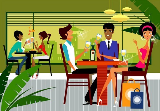 Five people sitting in a restaurant : Stock Photo