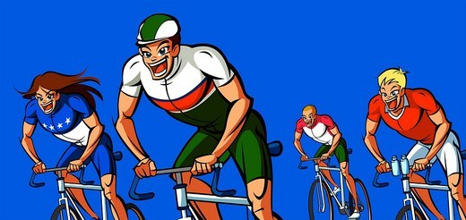 Four men participating in a bicycle race : Stock Photo