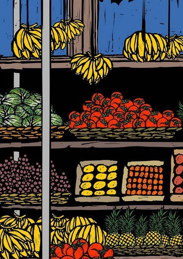 Stock Photo: 4170R-5790 Assorted fruits at a market stall