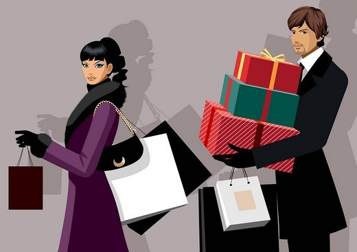 Stock Photo: 4170R-5802 Couple carrying shopping bags and Christmas presents