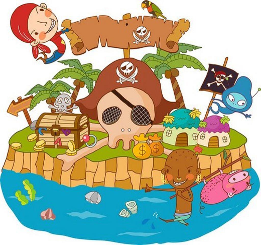 Stock Photo: 4170R-5969 Illustration of pirates