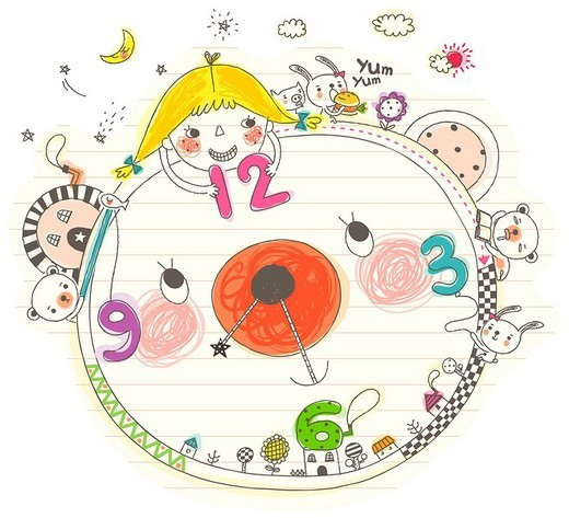 Girl playing with clock : Stock Photo