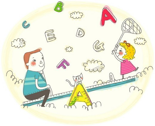 Girl and father sitting on seesaw : Stock Photo