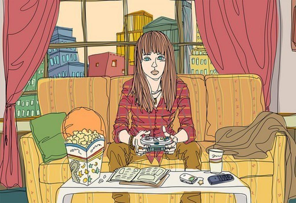Stock Photo: 4170R-6150 Teenage girl playing video game