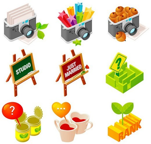 Stock Photo: 4170R-6317 Various objects displayed against white background