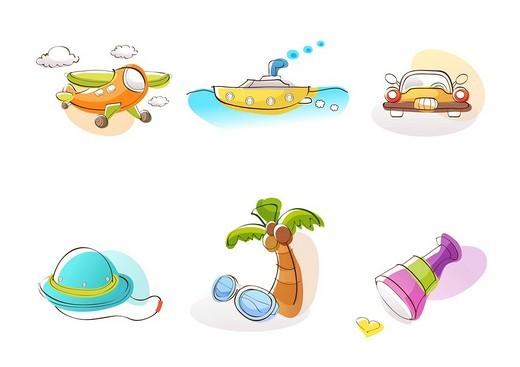 Various vehicles, hardhat, palm tree and kaleidoscope against white background : Stock Photo