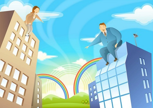 Low angle view of businessman and businesswoman sitting on building roof : Stock Photo