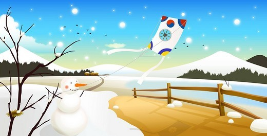 Snowman on snowcapped land, kite in background : Stock Photo