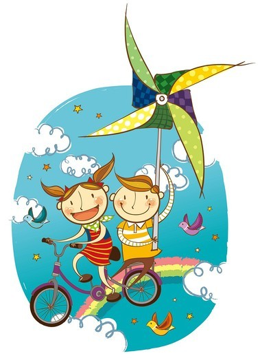 Stock Photo: 4170R-6719 Children flying in sky on bicycle