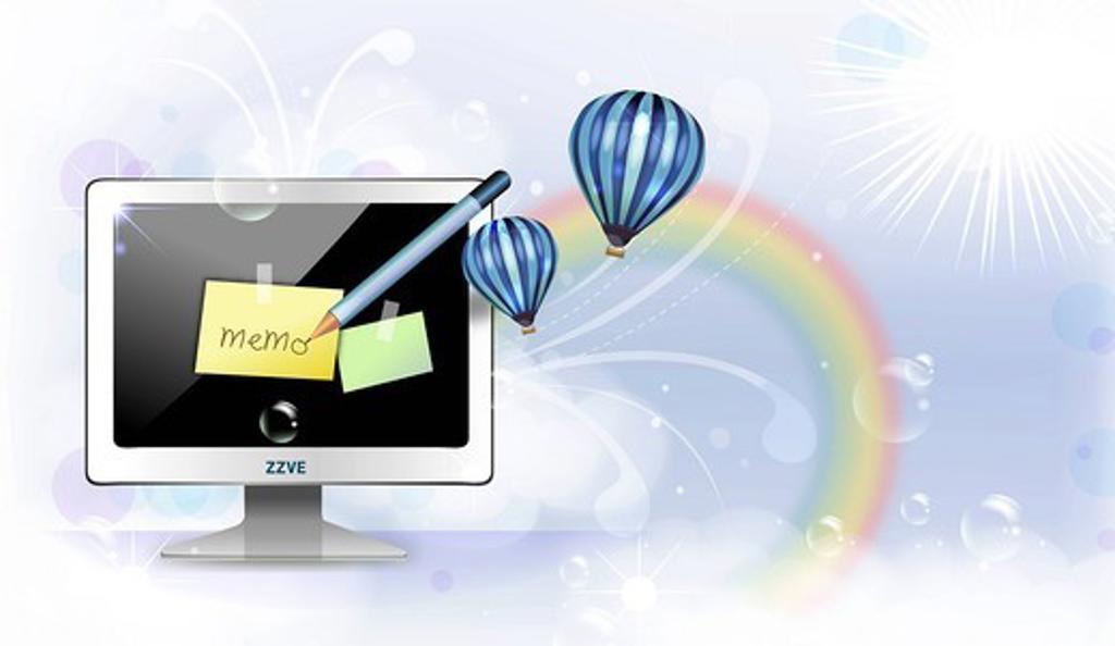Memo stick on computer screen : Stock Photo
