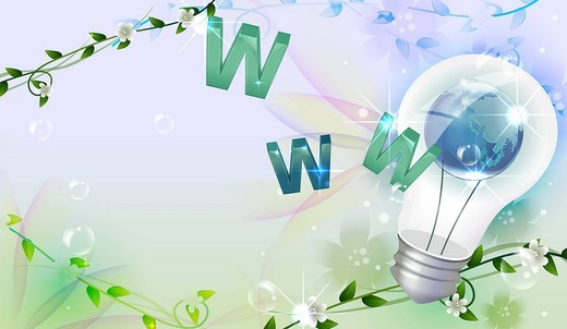 Stock Photo: 4170R-7006 World wide web vector with globe and light bulb