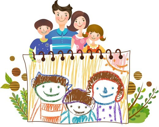 Stock Photo: 4170R-7022 family standing in front of family portrait sketch on drawing paper with crayons