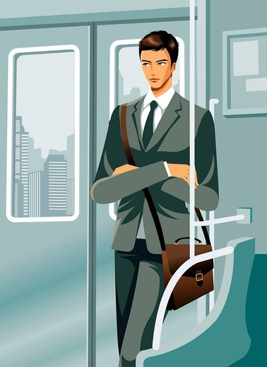 Business man travelling in train : Stock Photo