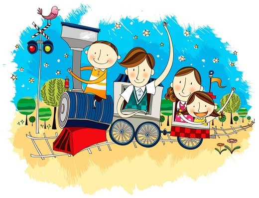 Happy family travelling in Train : Stock Photo