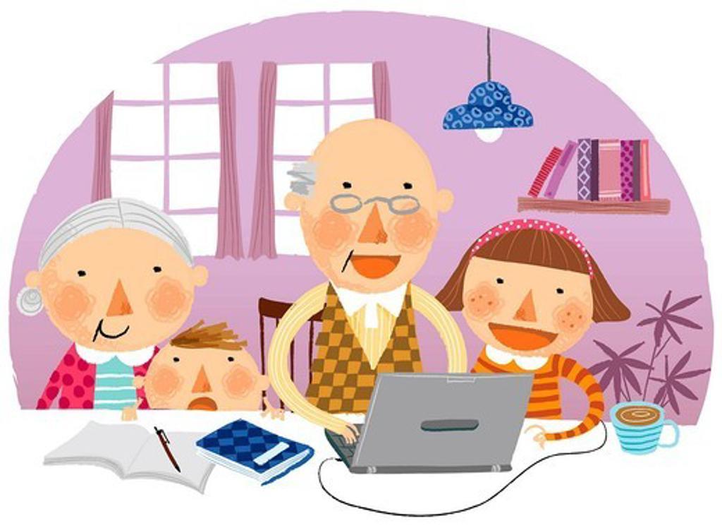 Stock Photo: 4170R-7233 Grandchildren with their grandparents