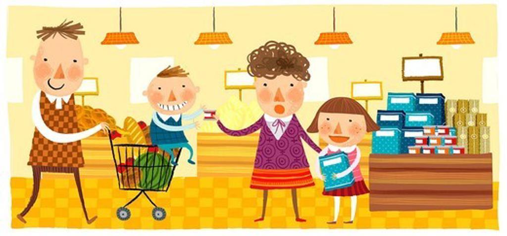 Stock Photo: 4170R-7234 Family at shopping mall